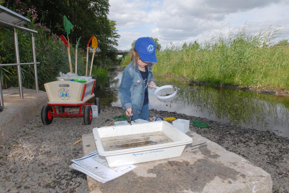 Kind spielt mit Sieb und Kunsstoffwanne an der Gewässergüte-Station der Wasserinsel Alzenau