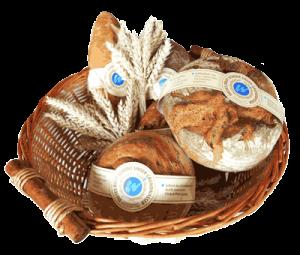 Brote mit Banderole in Brotkorb