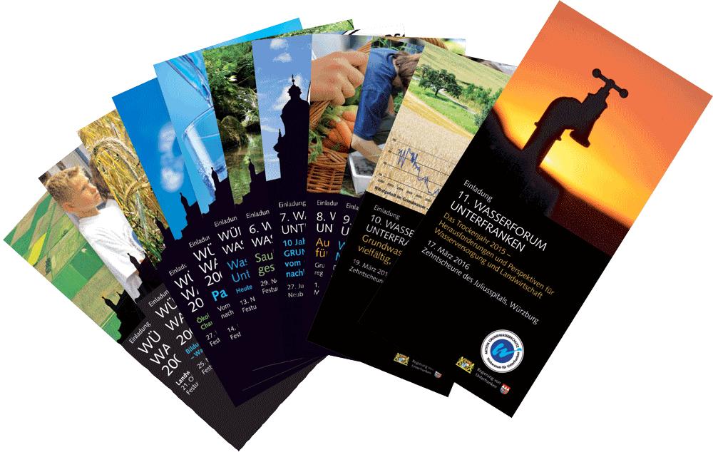 Fächer aus Einladungen zu verschiedenen Wasserforen