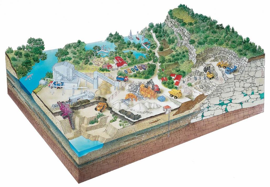 Illustration Rohstoffabbau und Grundwasser in Unterfranken