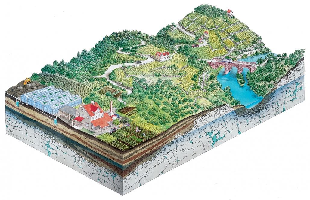 Illustration Wein- und Gartenbau in Unterfranken