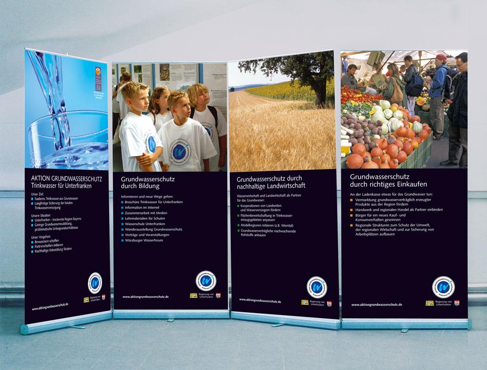 Displays der Aktion Grunfwasserschutz im Leichtbausystem