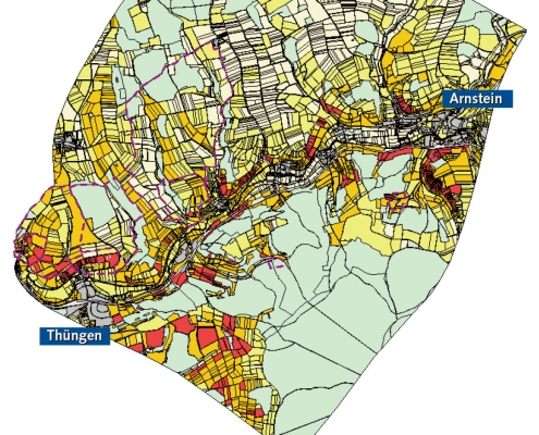 Projektgebiet im Werntal mit bewerteten Flurstücken