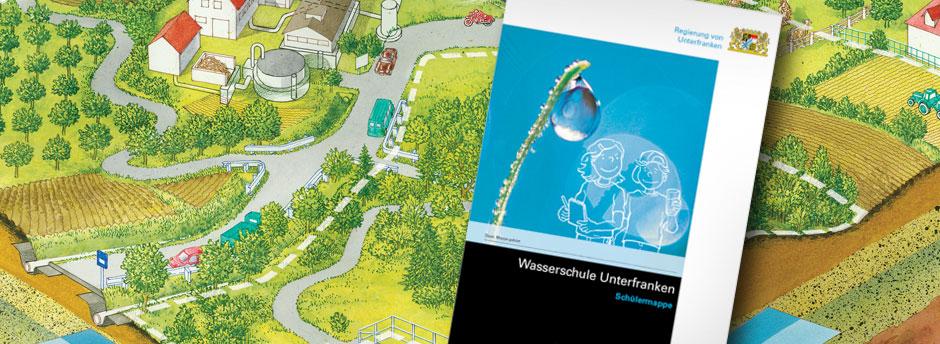 Titelseite der Schülermappe vor einer Zeichnung eines Wasserschutzgebiets