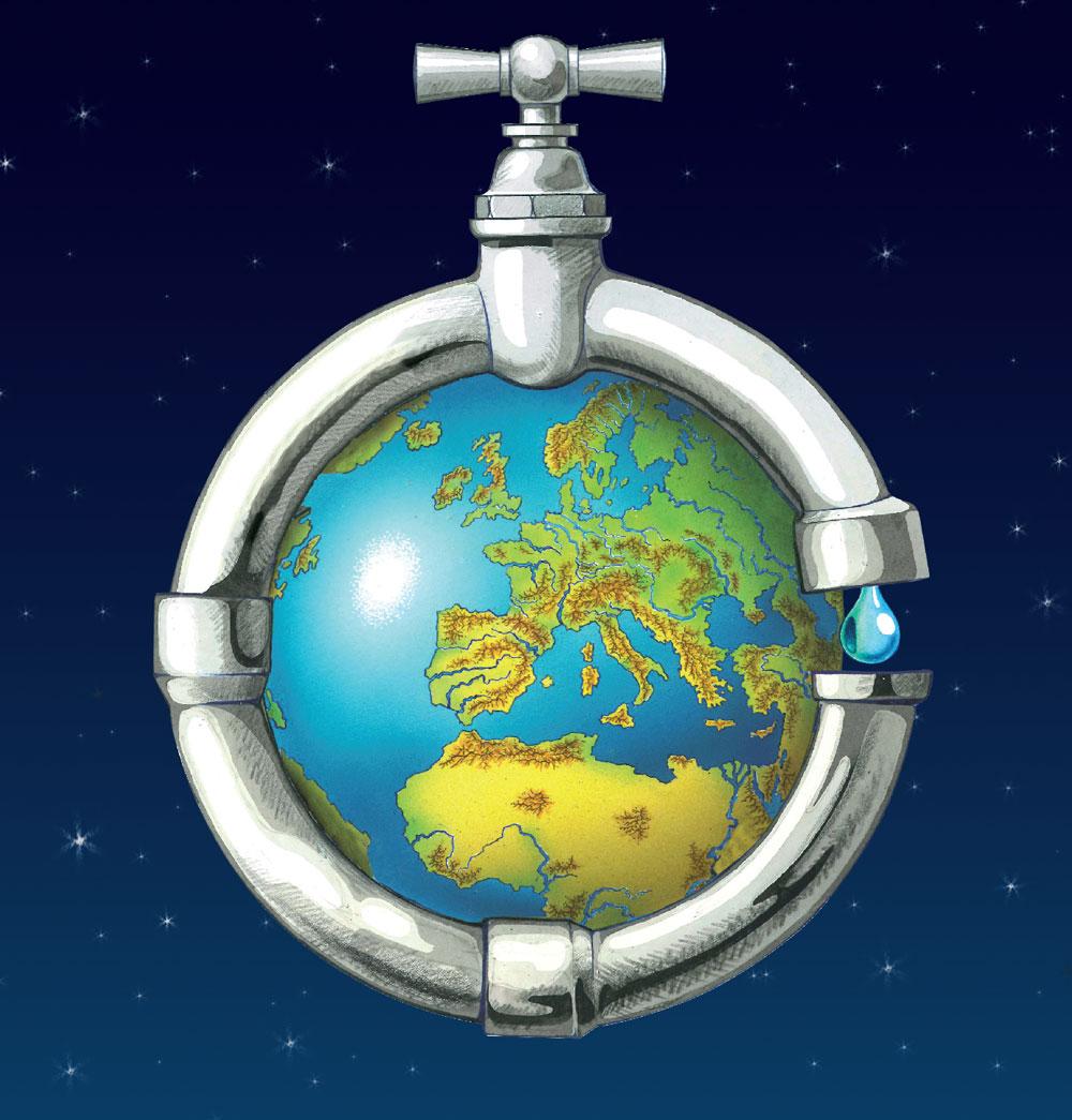 Illustration zum virtuellen Wasser: Wasserleitung um den ganzen Globus