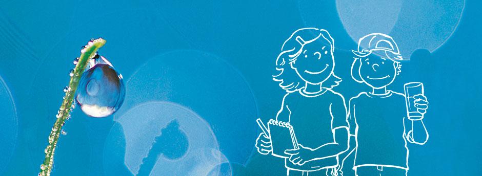 Grafik Kinder und Wassertropfen an Strohhalm