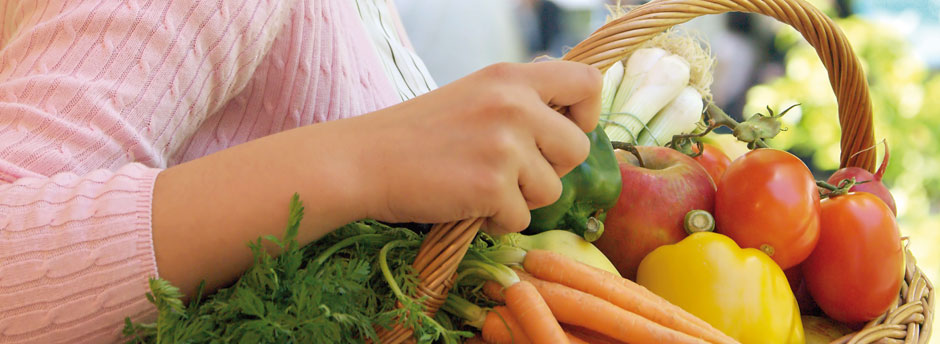 Einkaufskorb mit heimischem Gemüse und Obst